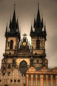 stock photo of old lady  - Prague Old Town Hall  - JPG