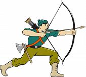 pic of bow arrow  - Illustration of an archer aiming with long bow and arrow viewed from side isolated background done in cartoon style - JPG