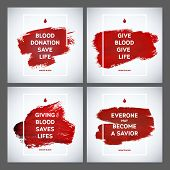 stock photo of blood  - Creative Blood Donor Day motivation information donor poster set - JPG