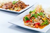 image of bean sprouts  - Stewed meat with vegetables and bean sprouts - JPG