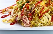 picture of bean sprouts  - Stewed seafood with noodles and bean sprouts. Korean cuisine. ** Note: Shallow depth of field - JPG