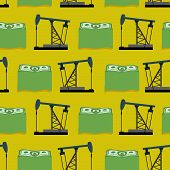 foto of rig  - Oil rig and a bundle of money seamless pattern - JPG