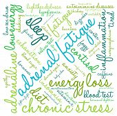 image of neurotransmitter  - Adrenal fatigue word cloud on a white background - JPG