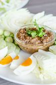 image of thai cuisine  - Thai cuisine chili paste mixed with shrimp served with various vegetables and eggs - JPG