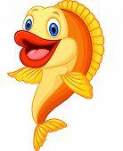 picture of goldfish  - Vector illustration of Cartoon adorable goldfish isolated on white background - JPG