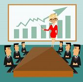 image of conduction  - illustration of business woman with pointer conducting a business meeting or presentation - JPG