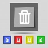 image of recycling bin  - Recycle bin icon sign on original five colored buttons - JPG