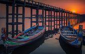 picture of u-boat  - Sunset in U Bein bridge with vintage boat Myanmar - JPG