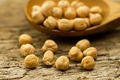 picture of chickpea  - scattered chickpeas from a jute bag with a spoon on old wooden background  - JPG