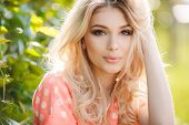 stock photo of overalls  - Very beautiful blonde girl with big brown eyes - JPG