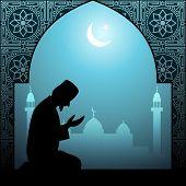 image of muslim man  - Islamic illustration of silhouette of Muslim man praying - JPG