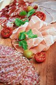 picture of cut  - Vertical photo of cold cuts of beef - JPG