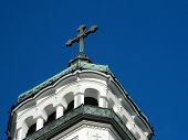 stock photo of sibiu  - Orthodox church tower in Medias Sibiu Romania - JPG