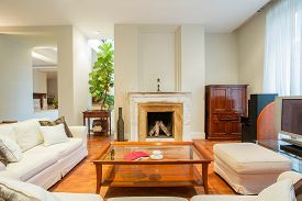 foto of mansion  - Cozy living room with fireplace in luxury mansion - JPG