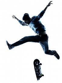 image of skateboard  - one caucasian man skateboarder skateboarding  in silhouette isolated on white background - JPG