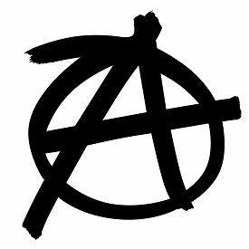 foto of anarchists  - Anarchy symbol in black and isolated on white background - JPG