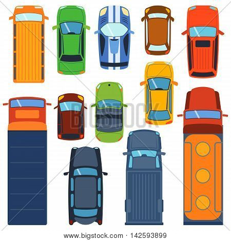 poster of Vector cars icon set. From above car top view. Includes sedan commercial van truck wagon, cabrio, sport car, hatchback vehicles. Transportation vehicle collection design car top view motor van.