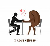 Coffee Lovers. Lover In Cafe. Man And Coffee Beans Sitting At Table. Food In Restaurant. Romantic Da poster
