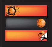 illustration set of basketball banners on black background poster