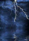 stock photo of meteoric rain  - lightning strike in the clouds - JPG