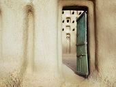 image of dogon  - An entrance door into a mud mosque in a Dogon village in Mali - JPG