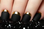 Постер, плакат: Manicure Black Matte Nail Polish Manicured Nail With Black Mat