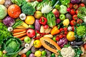 Assortment of  fresh fruits and vegetables poster