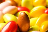 stock photo of easter candy  - Chocolate eggs of various colours  - JPG