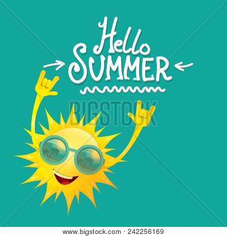 poster of Hello Summer Funky Rock N Roll Vector Label Isolated On Azure. Summer Party Background With Funky Su