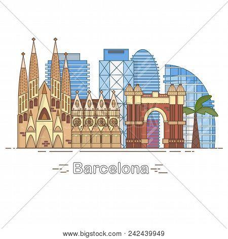 Minimal Barcelona City Linear Skyline