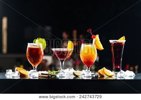 Multicolored Alcoholic Cocktails With Citrus