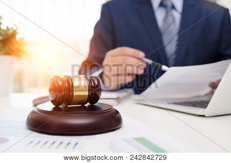 Justice Symbol Wooden Gavel On