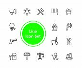 Hard Work Icons. Set Of Line Icons. Courier, Criminal, Policeman. Occupation Symbols Concept. Vector poster