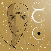 Постер, плакат: Sign Of Zodiac Taurus Girl Is Fortuneteller With Third Eye Constellation Sign Of Zodiac And Plane