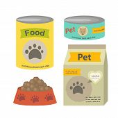 Pet Food Set Vector Flat Illustration Isolated On A White Background. Can Of Canned Food, A Packet O poster