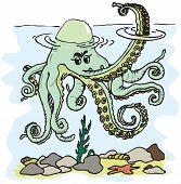 stock photo of devilfish  - Figure octopus tentacles waving in the style of cartoon fun - JPG