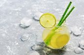 Cocktail Drink With Lime And Ice. A Refreshing Summer Drink. The Concept Of Summer. Place For Text poster