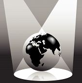 pic of eastern hemisphere  - Illustration of the Earth on stage in the spotlight - JPG