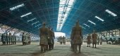 picture of exhumed  - Terracotta warriors in line in a hall - JPG
