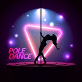Pole Dance. Silhouette Of A Girl. Neon Triangle. A Directional Beam Of Light From The Searchlight Is poster