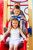 foto of chute  - Lovely school aged children on the chute - JPG