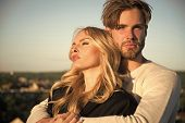 Family Couple Of Man And Sexy Girl, Trust. Muscular Man And Woman With Long Blond Hair, Love. Couple poster