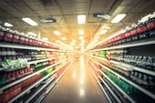 Vintage Blurred Soft Drinks Aisle In Usa Store Customer Shopping poster