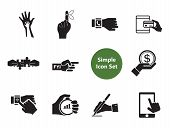Hands Simple Icons Set With Handshake, Helping Hands And Reminder Hand. Thirteen Vector Icons poster