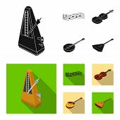 Musical Instrument Black, Flat Icons In Set Collection For Design. String And Wind Instrument Isomet poster