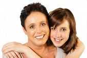 foto of mother daughter  - Mother and daughter portrait on white background - JPG