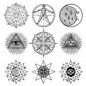 Vector Set Of Icons And Symbols On The Theme Of White Magic, Occult, Alchemy, Mystic, Esoteric, Reli poster