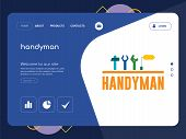 Quality One Page Handyman Website Template Vector Eps, Modern Web Design With Flat Ui Elements And L poster