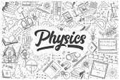 Hand Drawn Physics Doodle Set. Lettering - Physics poster
