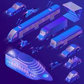 Vector Set Of Isometric Violet Urban Public Transport For Passenger Transportation. Private Cars, Cr poster